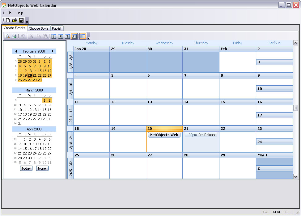 Click to view NetObjects Web Calendar 1.0 screenshot