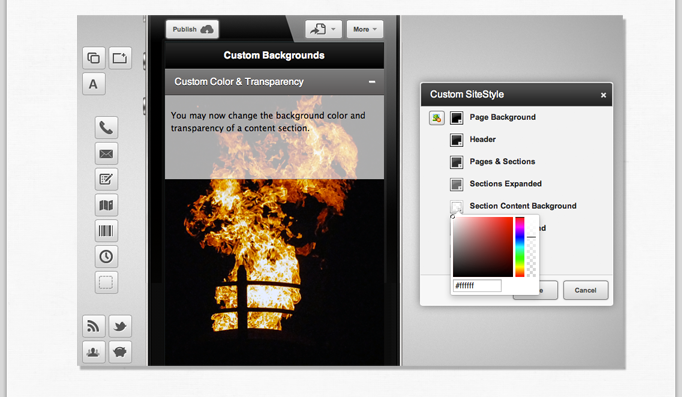 Select content background colors and opacity.